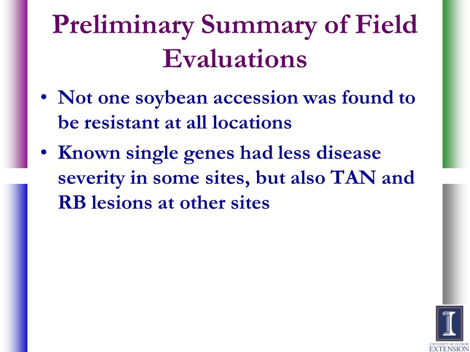 Preliminary Summary of Field Evaluations