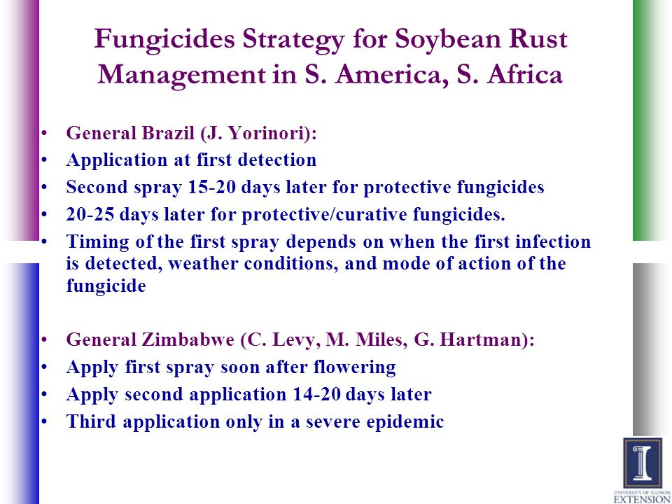 Fungicides Strategy for Soybean Rust Management in S. America, S