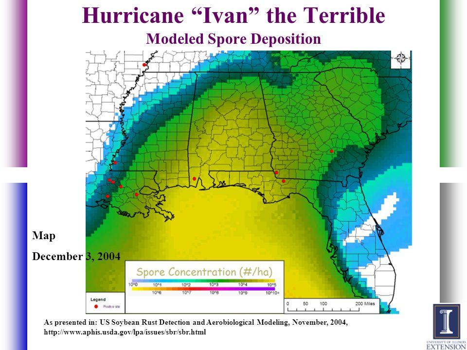 Hurricane Ivan the Terrible Modeled Spore Deposition