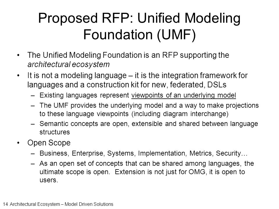Charmant Proposed RFP: Unified Modeling Foundation (UMF)