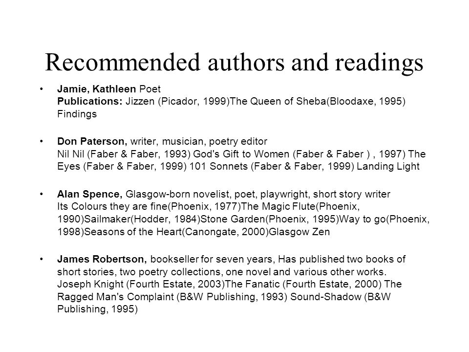 Recommended authors and readings