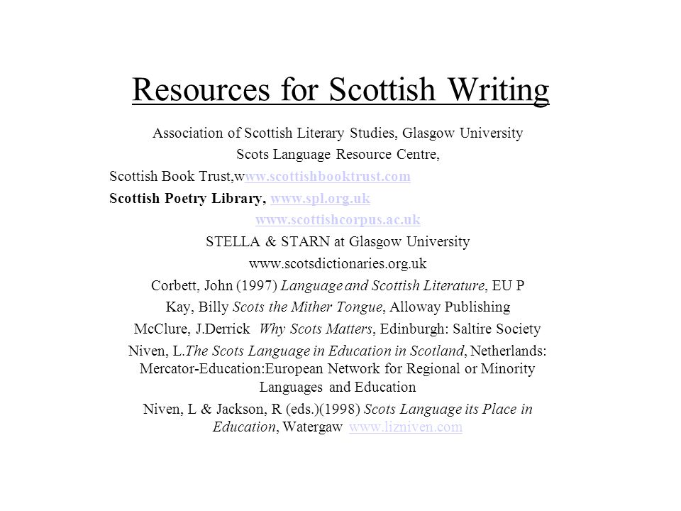 Resources for Scottish Writing