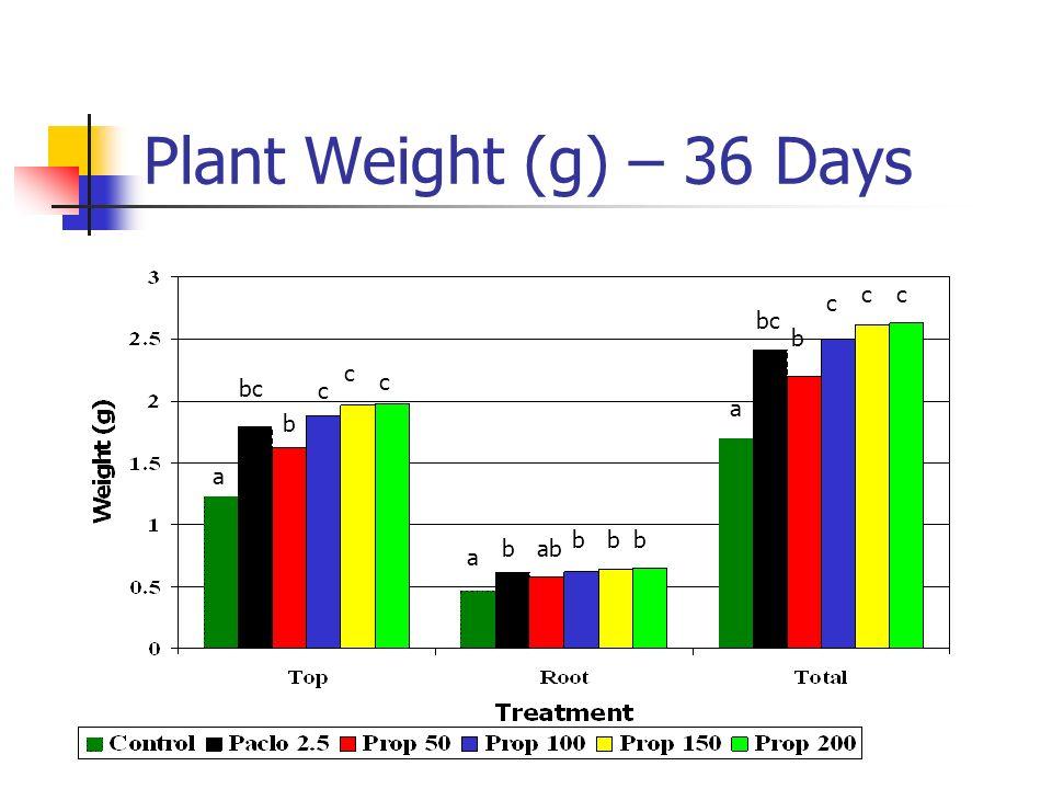 Plant Weight (g) – 36 Days c c c bc b c bc c c a b a b b b b ab a