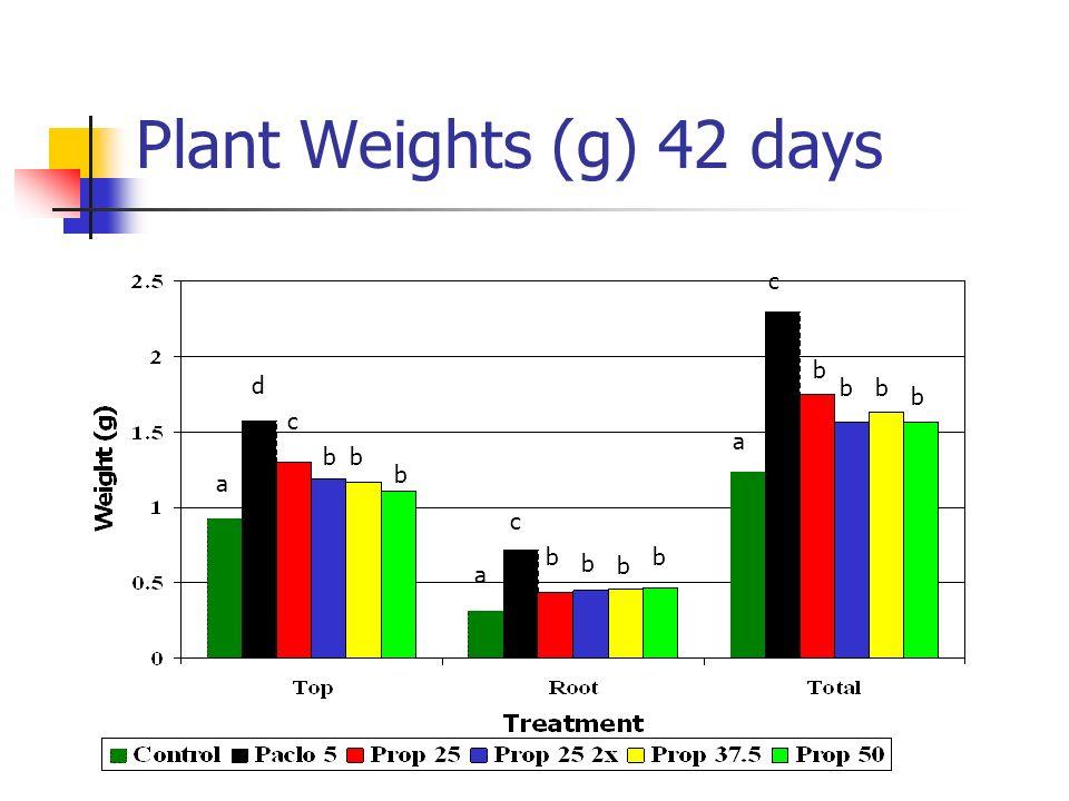 Plant Weights (g) 42 days c b d b b b c a b b b a c b b b b a
