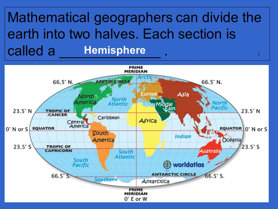 Mathematical geographers can divide the earth into two halves