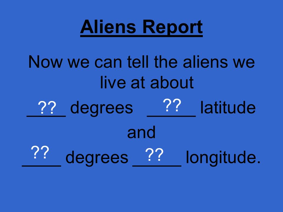 Aliens Report Now we can tell the aliens we live at about
