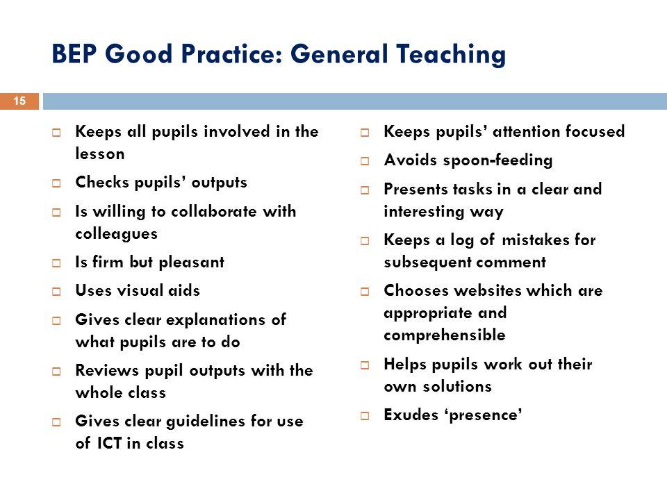 BEP Good Practice: General Teaching