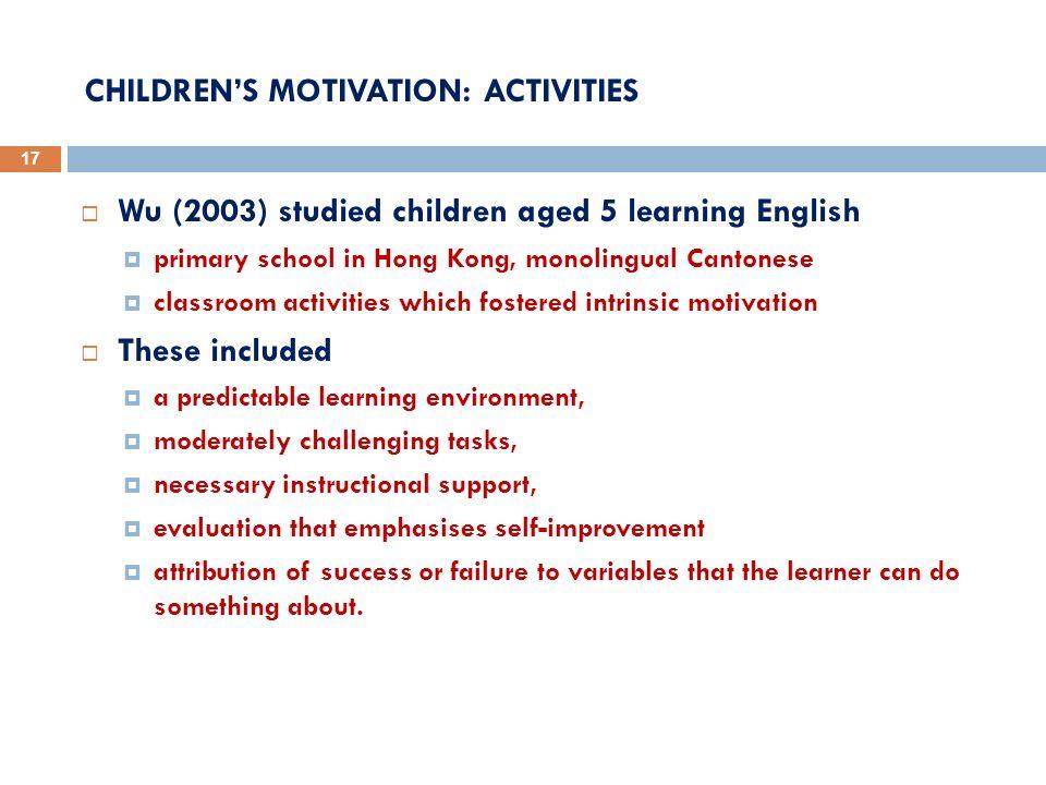 CHILDREN'S MOTIVATION: ACTIVITIES
