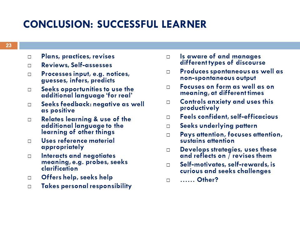 CONCLUSION: SUCCESSFUL LEARNER
