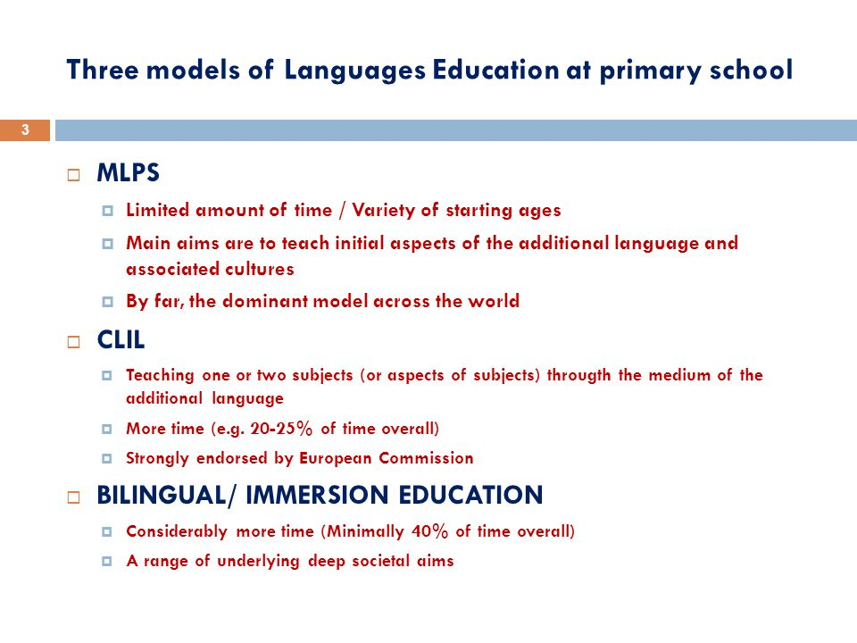 Three models of Languages Education at primary school