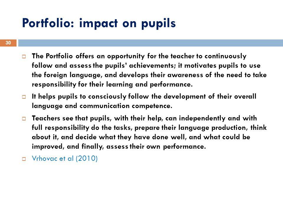 Portfolio: impact on pupils