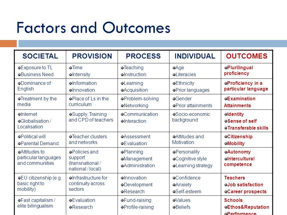 Factors and Outcomes SOCIETAL PROVISION PROCESS INDIVIDUAL OUTCOMES