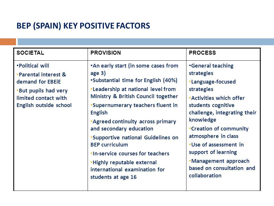 BEP (SPAIN) KEY POSITIVE FACTORS
