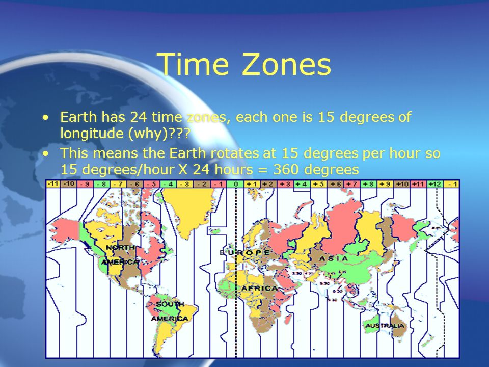 Time Zones Earth has 24 time zones, each one is 15 degrees of longitude (why)