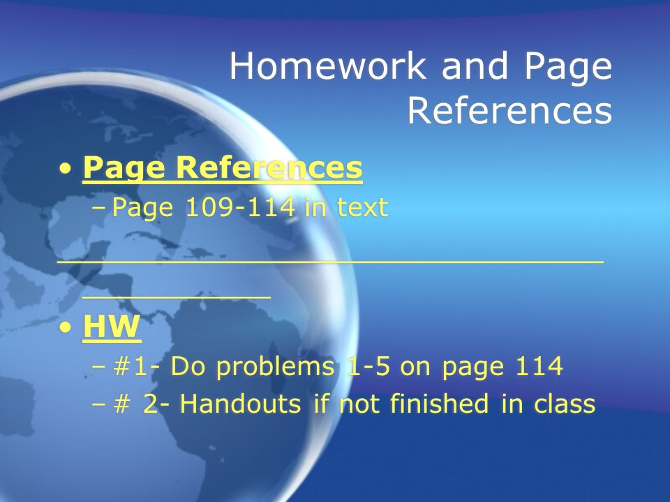 Homework and Page References