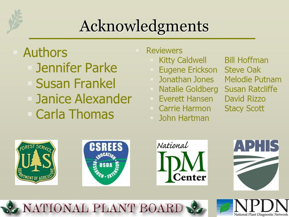 Acknowledgments Authors Jennifer Parke Susan Frankel Janice Alexander