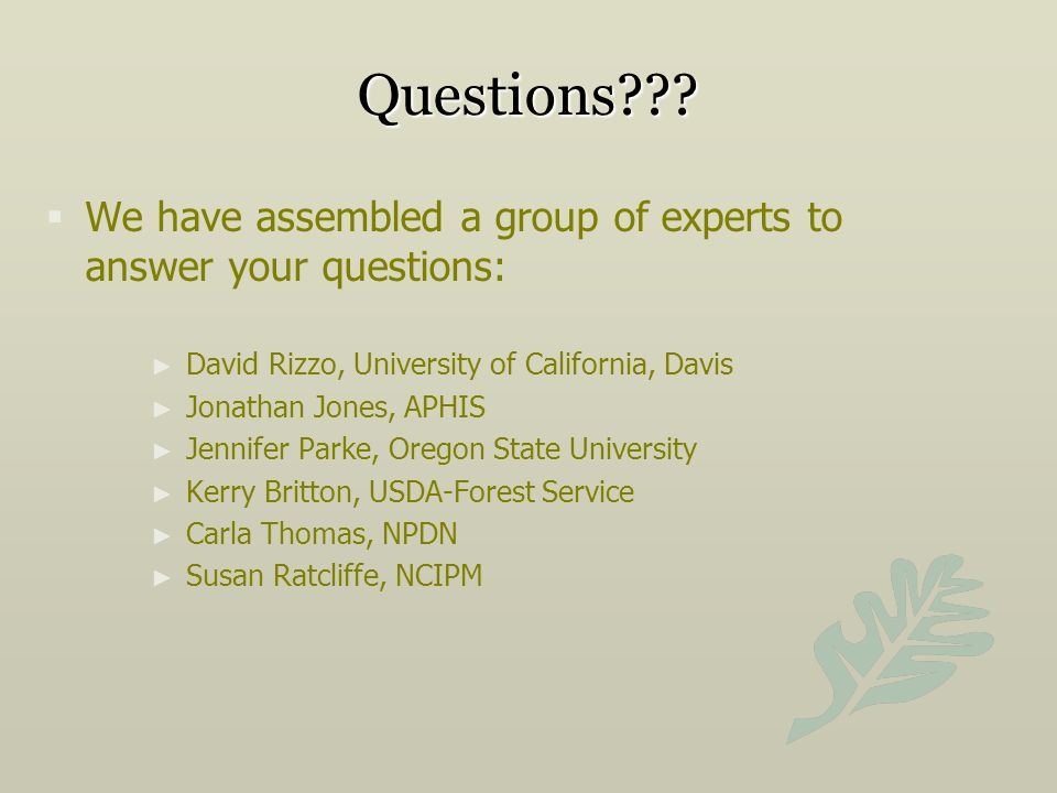 Questions We have assembled a group of experts to answer your questions: David Rizzo, University of California, Davis.