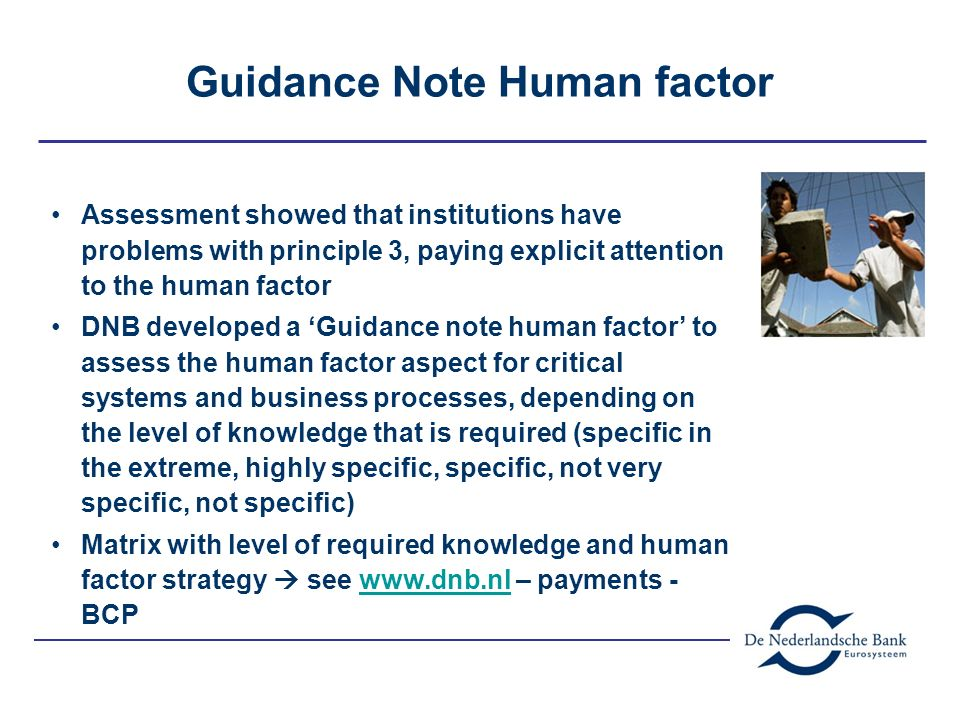 Guidance Note Human factor