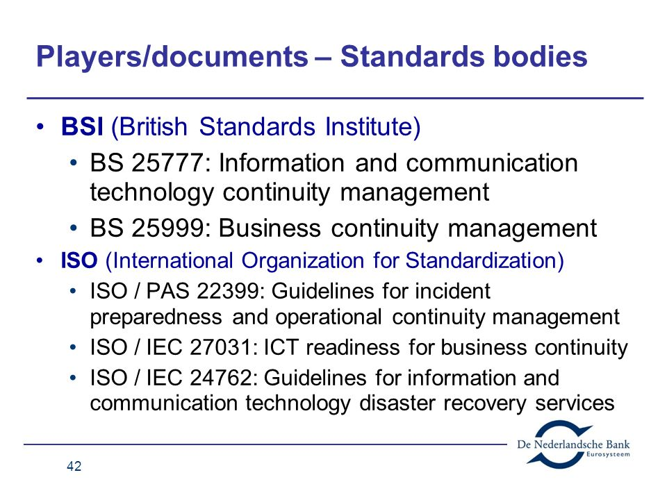 Players/documents – Standards bodies