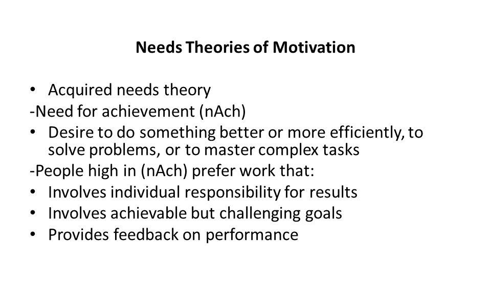 Needs Theories of Motivation