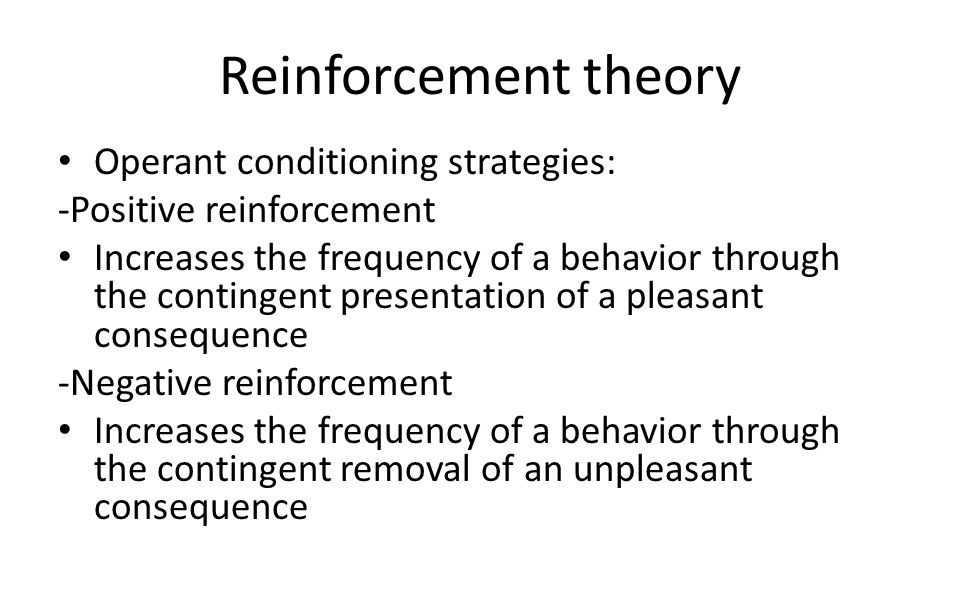 Reinforcement theory Operant conditioning strategies: