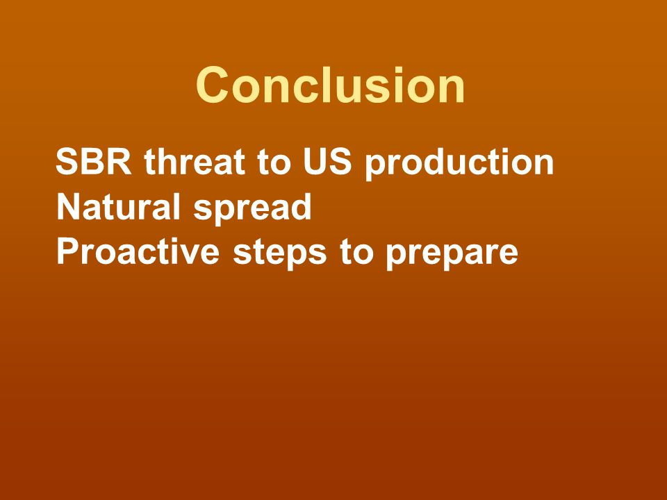 Conclusion SBR threat to US production Natural spread