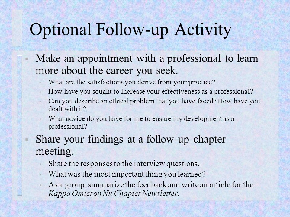 Optional Follow-up Activity