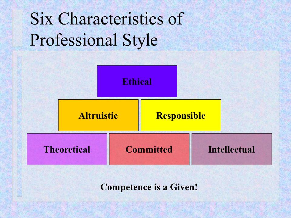 Six Characteristics of Professional Style