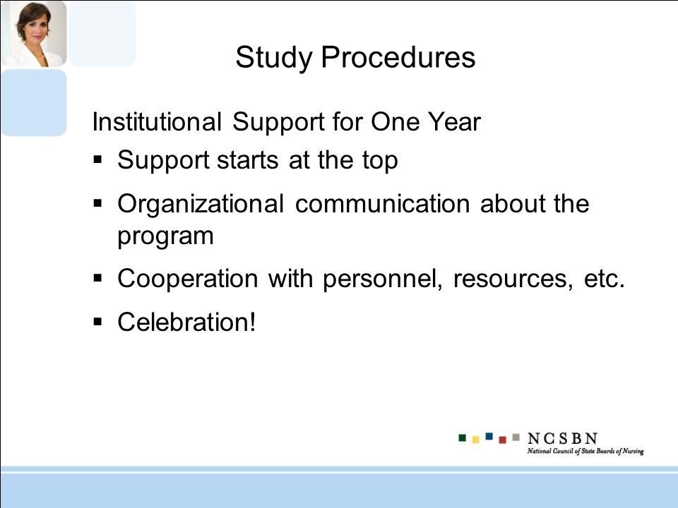 Study Procedures Institutional Support for One Year