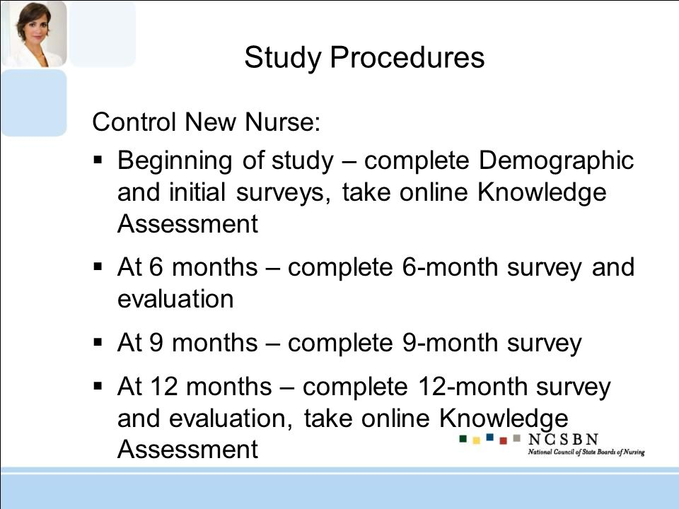 Study Procedures Control New Nurse: