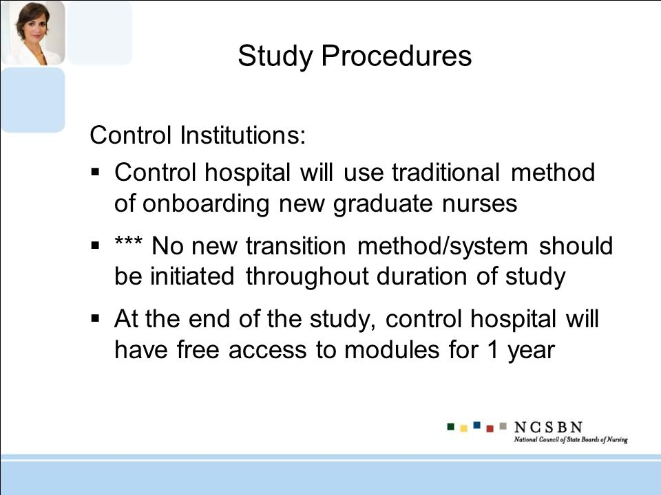 Study Procedures Control Institutions: