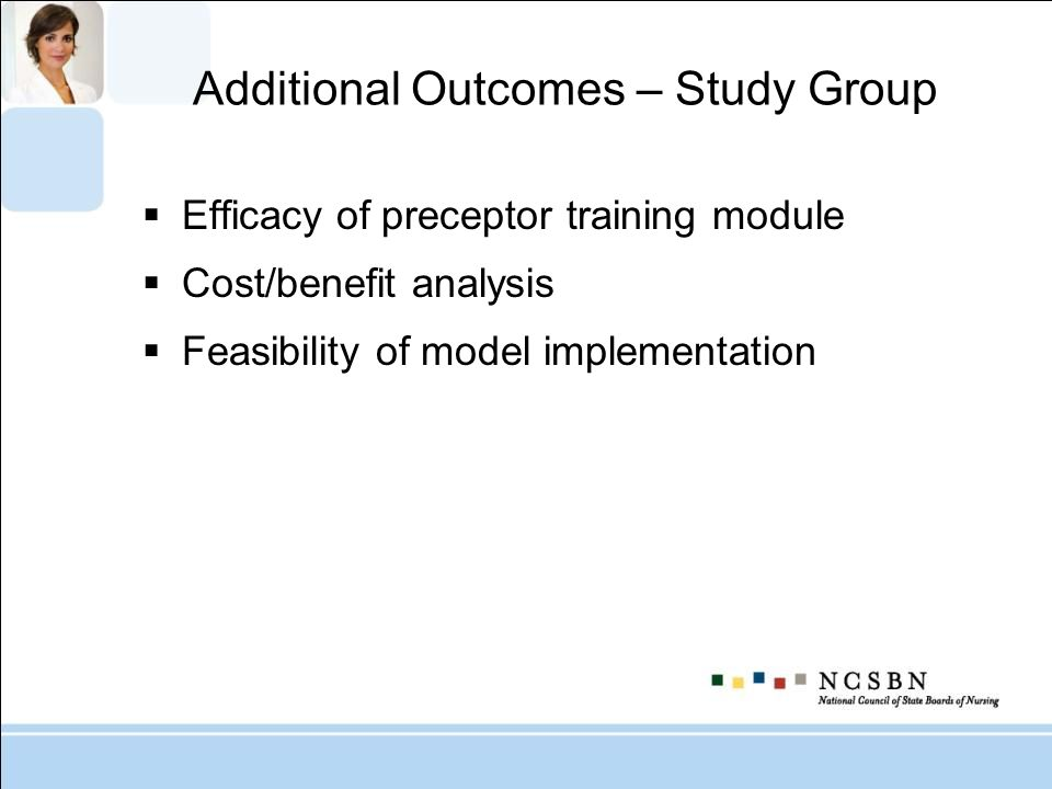Additional Outcomes – Study Group