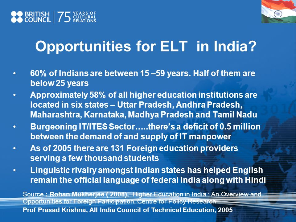 Opportunities for ELT in India