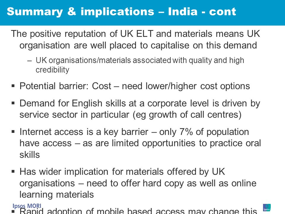 Summary & implications – India - cont