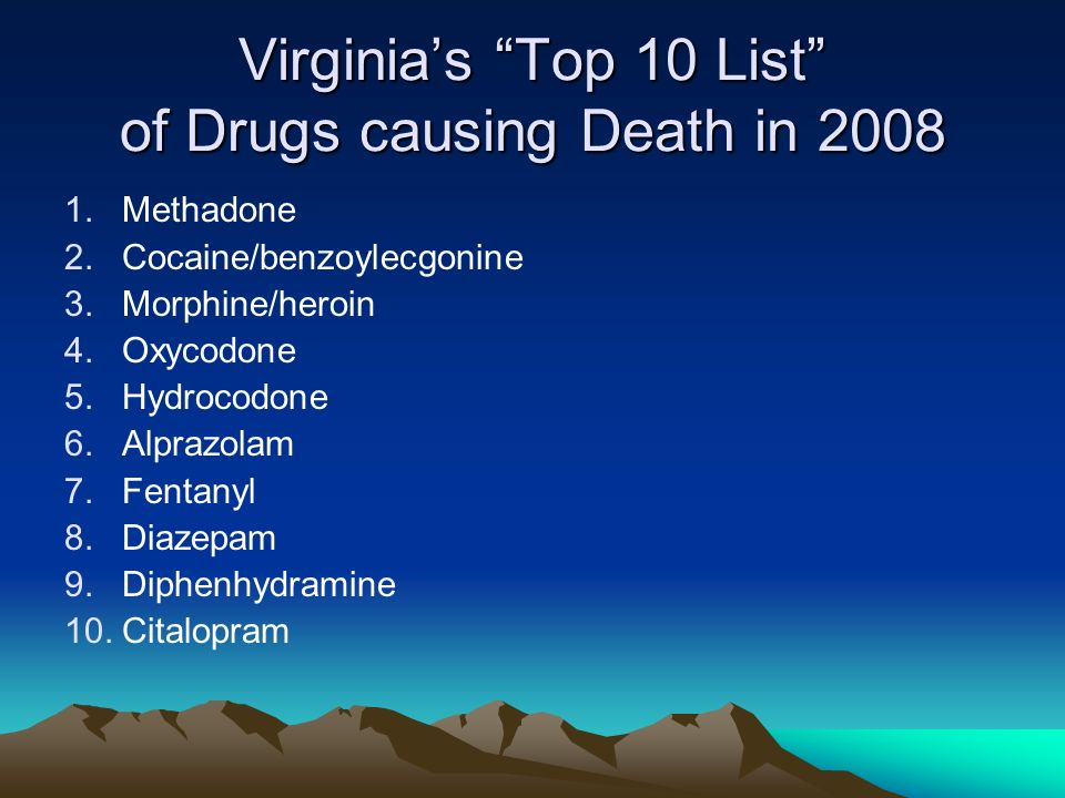 Virginia's Top 10 List of Drugs causing Death in 2008