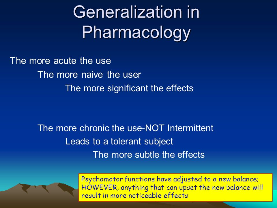 Generalization in Pharmacology