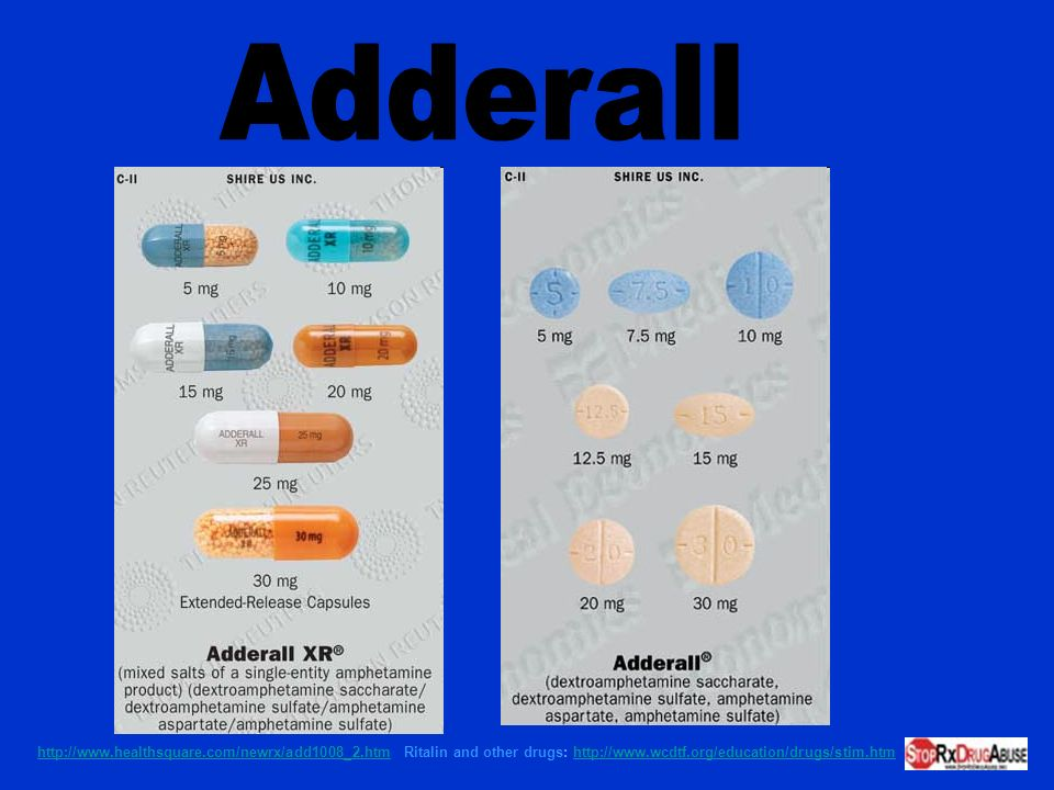 Adderall http://www.healthsquare.com/newrx/add1008_2.htm Ritalin and other drugs: http://www.wcdtf.org/education/drugs/stim.htm.