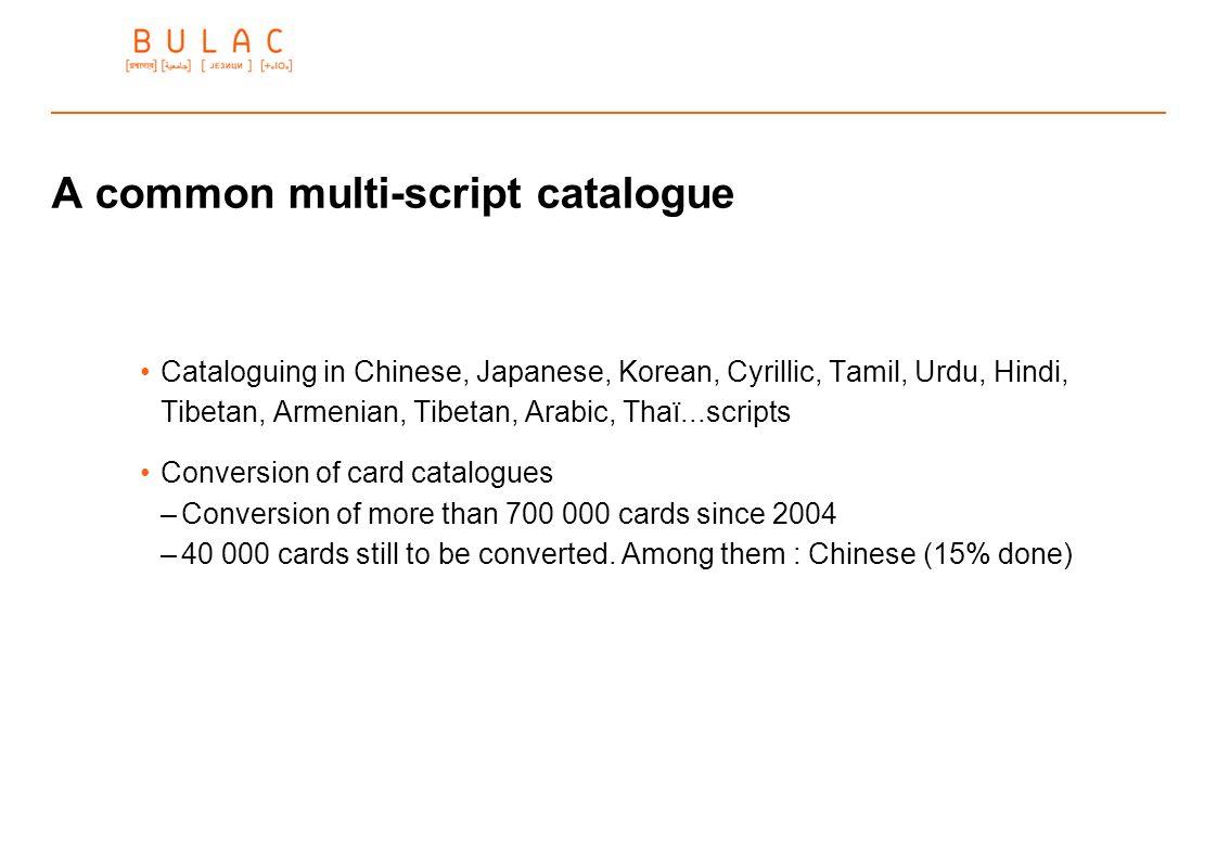 A common multi-script catalogue