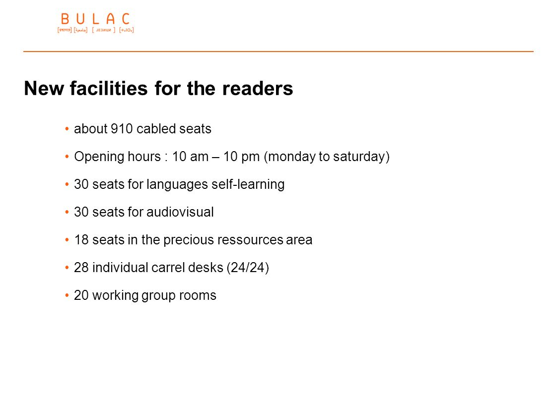 New facilities for the readers