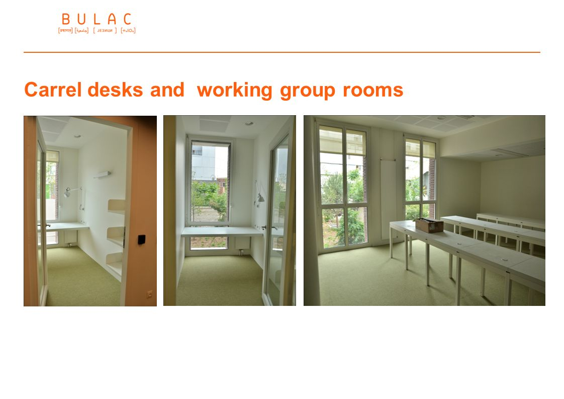 Carrel desks and working group rooms