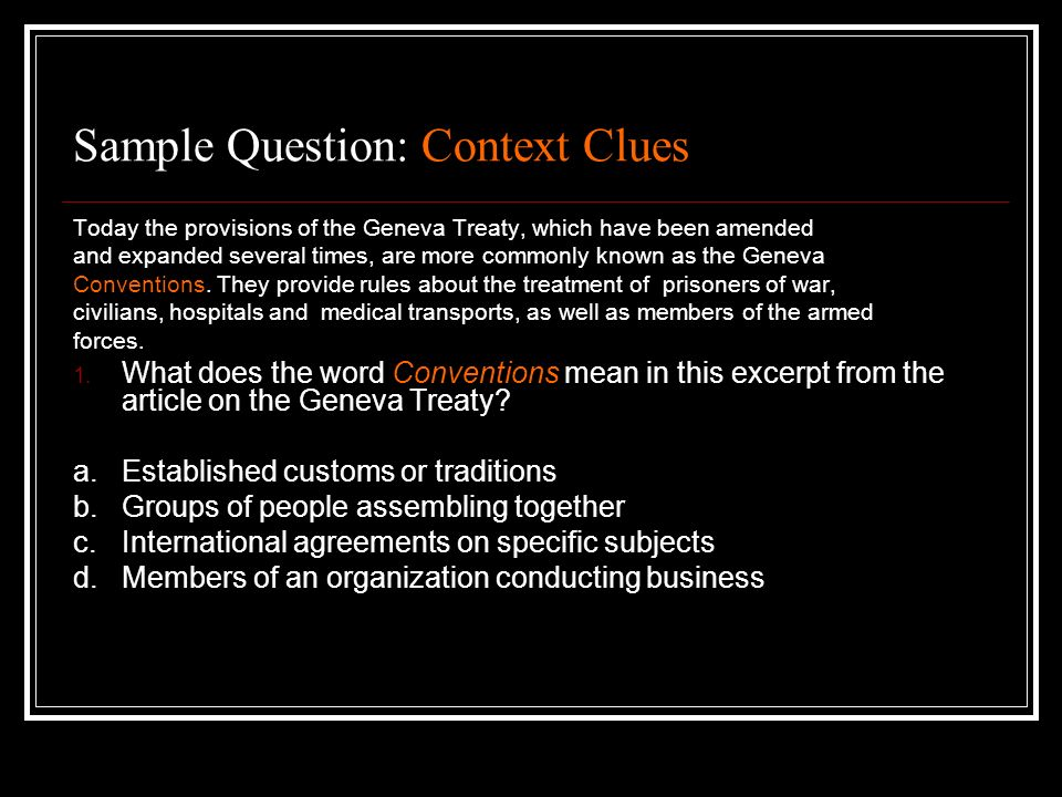 Sample Question: Context Clues