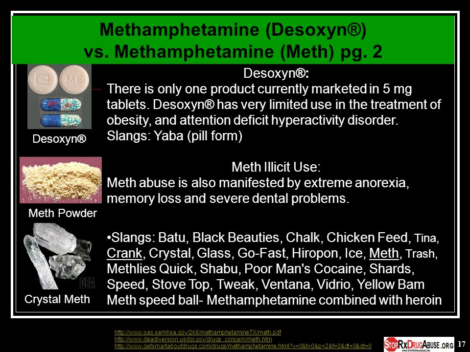 Methamphetamine (Desoxyn®) vs. Methamphetamine (Meth) pg. 2
