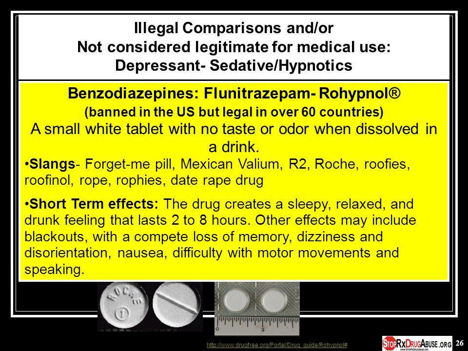 Benzodiazepines: Flunitrazepam- Rohypnol®