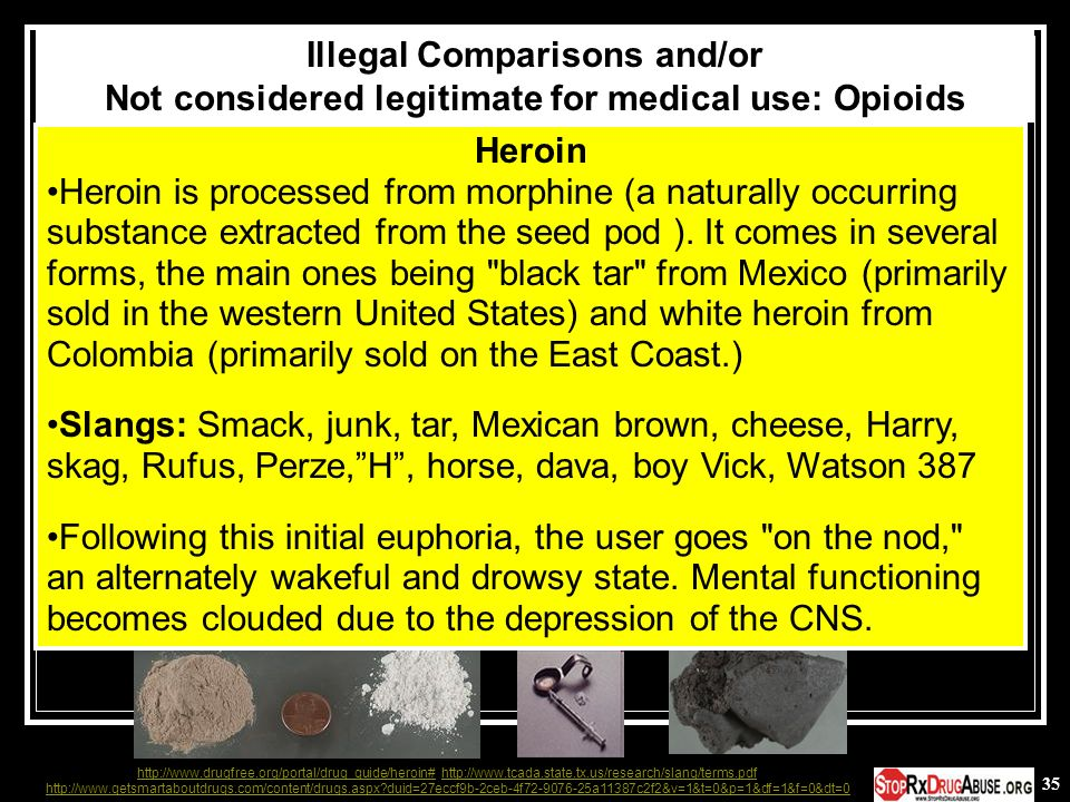 Illegal Comparisons and/or Not considered legitimate for medical use: Opioids
