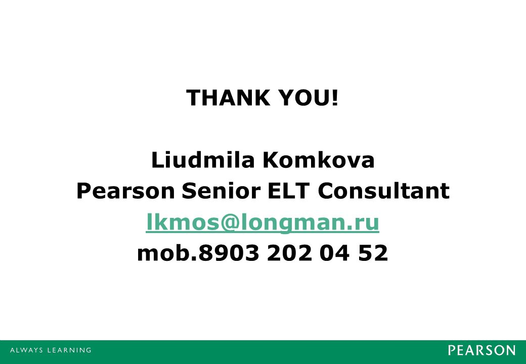Pearson Senior ELT Consultant