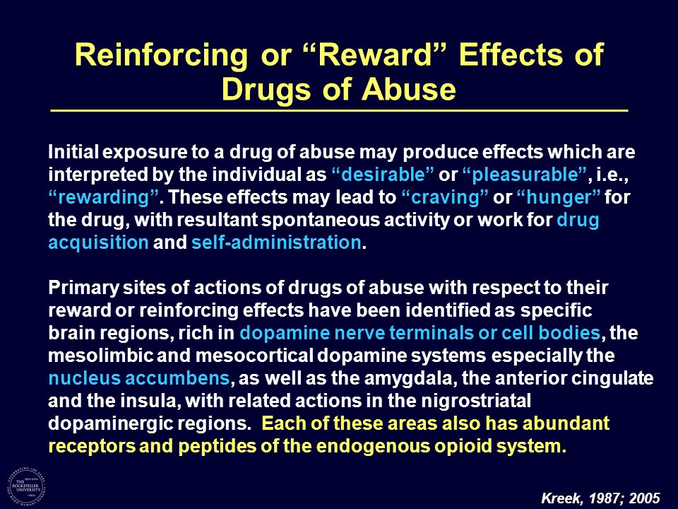 Reinforcing or Reward Effects of Drugs of Abuse