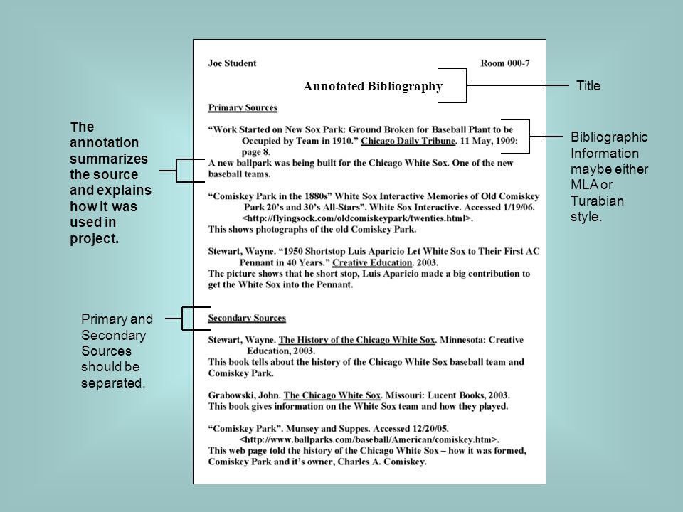 annotated bibliography in word