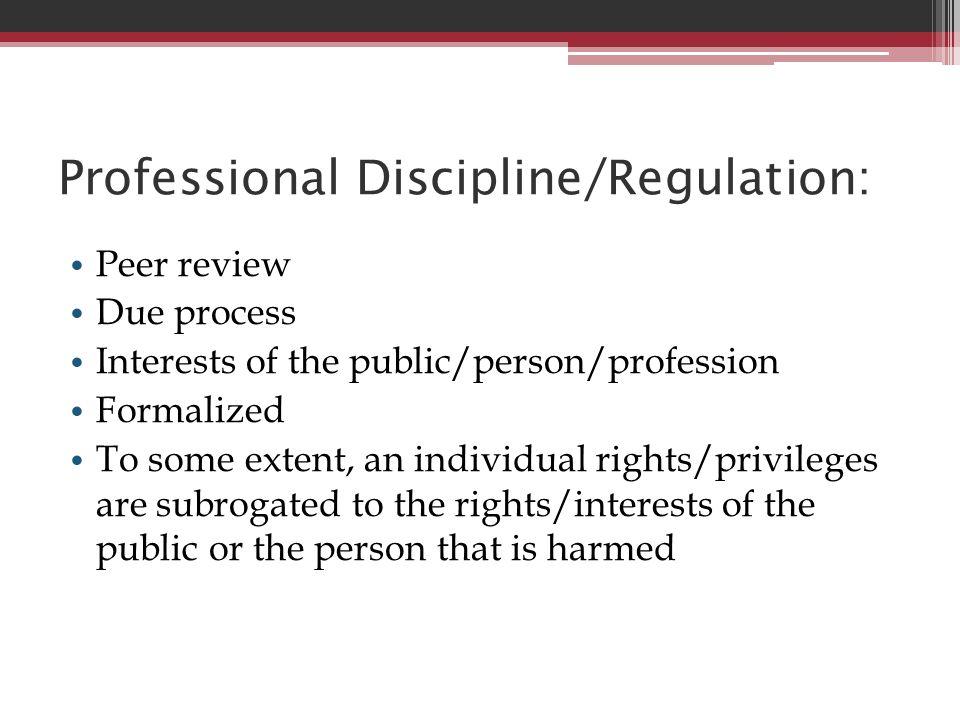 Professional Discipline/Regulation: