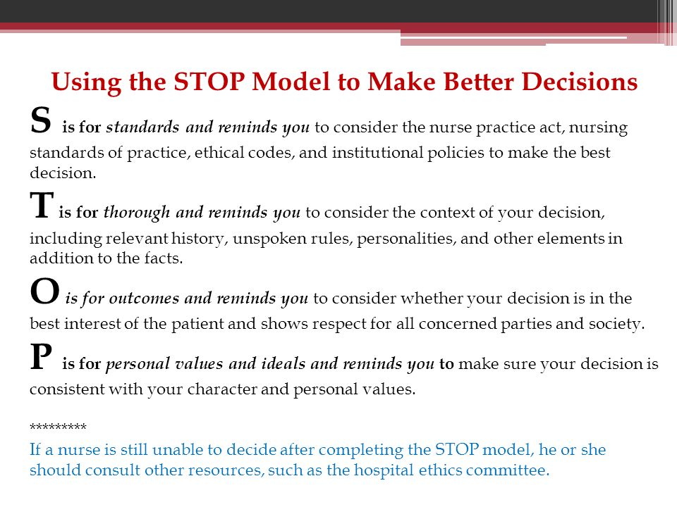 Using the STOP Model to Make Better Decisions
