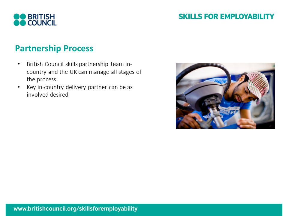 Partnership Process British Council skills partnership team in-country and the UK can manage all stages of the process.